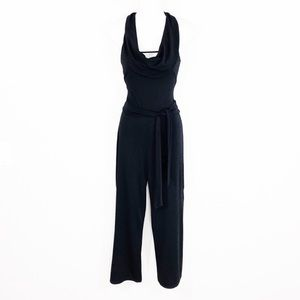 WHBM black cowl neck belted jumpsuit